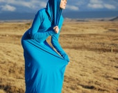 Maxi Dress -  Oversized Cowl Hoodie - Full Length Dress - Organic Clothing - Eco Friendly - Several Colors