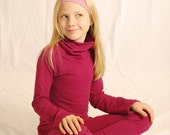Eco - Friendly Girls Long Sleeve Shirt - Wide Turtle Neck - Berry Pink - Organic Clothing