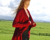 Cranberry Red - Open Cardigan - Shawl Wrap Top - Long Sleeve  -Eco Friendly Fashion -  Organic Cotton Clothing