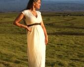 Eco Wedding Dress - Maxi Dress - Cap Sleeve - Organic Cotton Hemp Jersey - Natural Creme Color