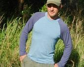 Men's Raglan Sleeve Shirt - Organic Cotton Jersey  T-Shirt  - Eco Friendly - Organic Clothing