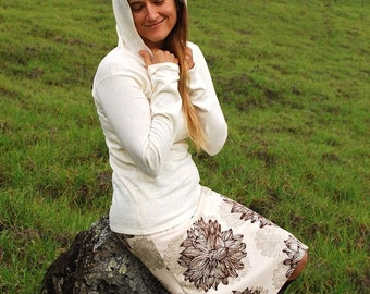 Women's Hoodie - Organic Cotton Hemp - Natural Color  - Eco Friendly - Organic Clothing