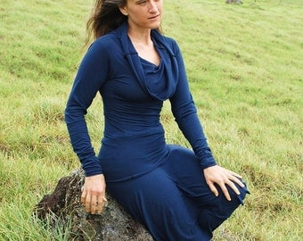 Women's Long Sleeve Cowl Neck Shirt - Navy Blue - Organic Clothing - Eco Friendly - Several Colors Available