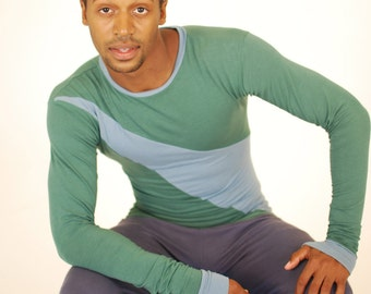 Men's Long Sleeve Shirt - Geometric Shape - Green Blue - Organic Clothing - SAMPLE SALE - Eco Friendly