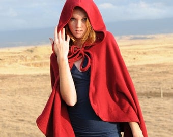 Red Riding Hood Costume - Cape Cloak - Organic Cotton  - Eco Friendly - Organic Clothing