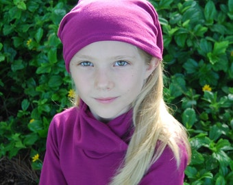Eco Friendly Kids Slouchy Hat - Children Clothing-  Boho Girls - Bright Berry - Organic Clothing