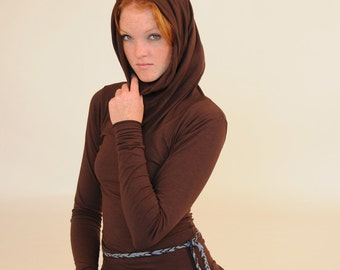 Eco - Friendly for Women - Tunic Length - Long Sleeve Cowl Hoodie - Chocolate Brown - Organic Cotton Clothing