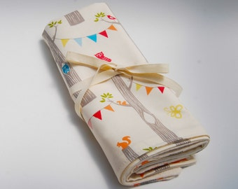 Organic Baby - Organic Cotton Burp Cloths - Baby Shower  - Woodland Animals -  Eco Friendly
