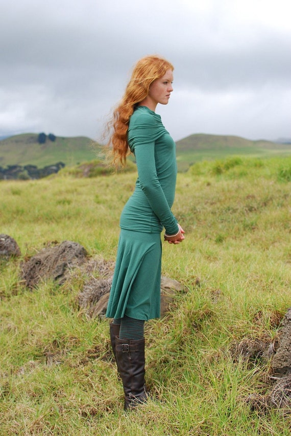 Emerald Green Womens Top - Long Sleeve Fitted Tunic - Cowl Hoodie - Eco Friendly - Organic Clothing