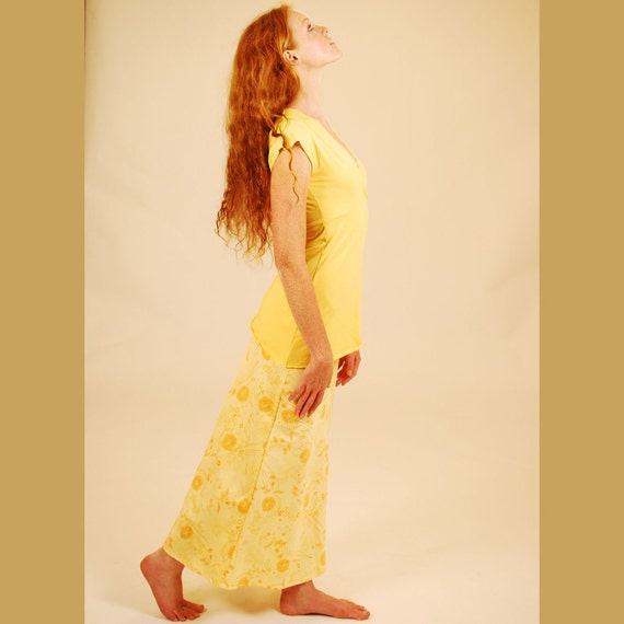 Maxi Skirt - Full Length - Bias Cut Skirt in Yellow Organic Cotton Floral - Organic Clothing - SAMPLE SALE