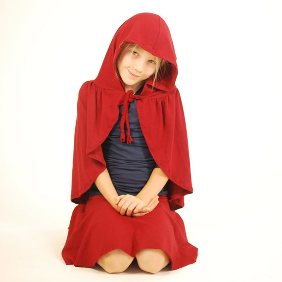 Kids Costume - Little Red Riding Hood - Dress Up Cape - Eco Friendly - Organic Clothing - Fairy Tale