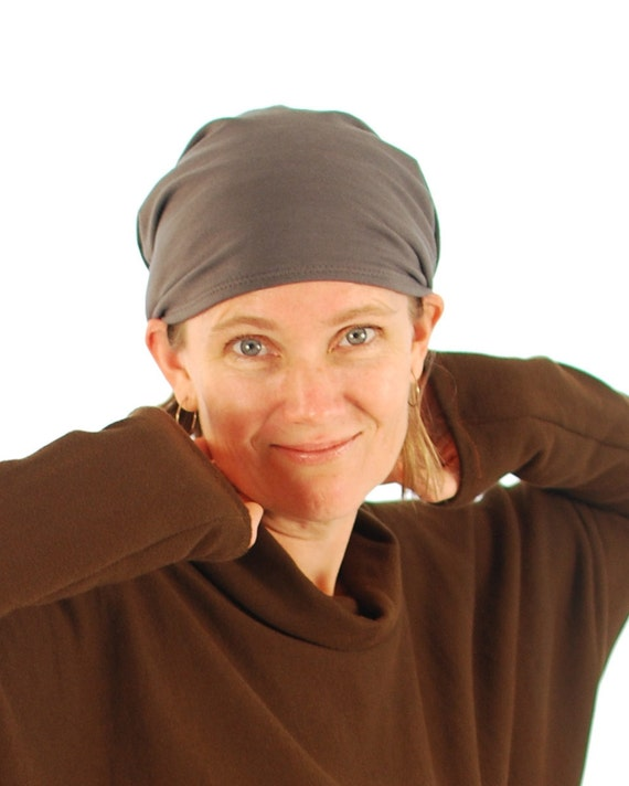 Slouchy Hat - Boho - Unisex  - Gray - Organic Clothing - Eco Friendly - Beanie - Women's Hat