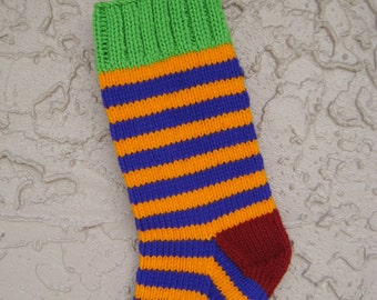 Christmas stocking hand knit in lime green, orange, purple, maroon with FREE U.S. SHIPPING bright stripes