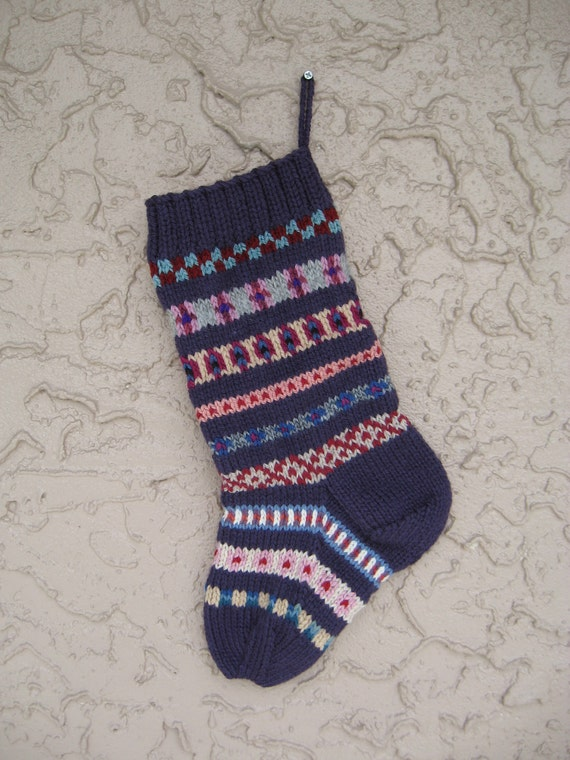 Purple Christmas stocking hand knit FREE U.S. SHIPPING