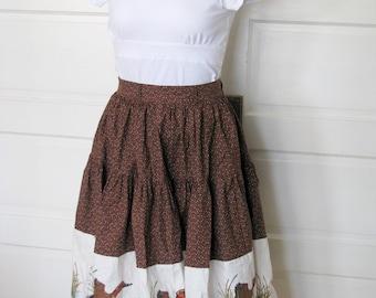 Vintage Brown prarie circle skirt with geese detail