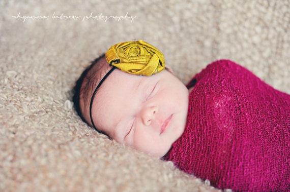 Newborn Rosette Headband...Yellow Rosette Headband..Baby Rosette Headband...Newborn Photography Prop..mustard yellow...black..EMMALINE