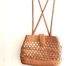 Vintage Leather & Canvas Weaved BOHO Designer Purse Handbag 1970's Market Bag Hippie Braided Leather bag