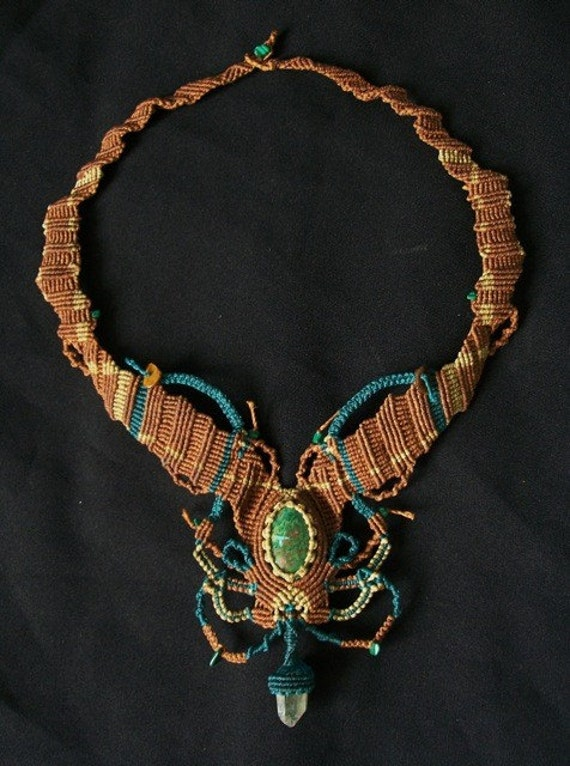 Amazon Jungle Necklace in Brown and Green Micro Macrame with Chrysocolla, Malachite, and SMoked Quartz Crystal