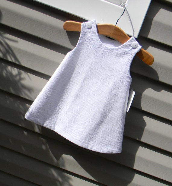 Girls White Seersucker Jumper Dress, Add Monogram with purchase of Monogram Upgrade