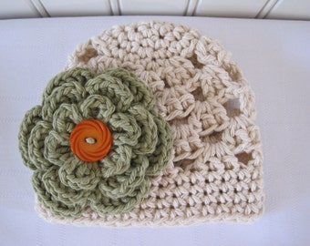 Crochet Girls Hat - Baby Hat - Toddler Hat - Newborn Hat - Fall Hat - Ecru (Beige) with Country Green Flower - in sizes Newborn to 3 Years