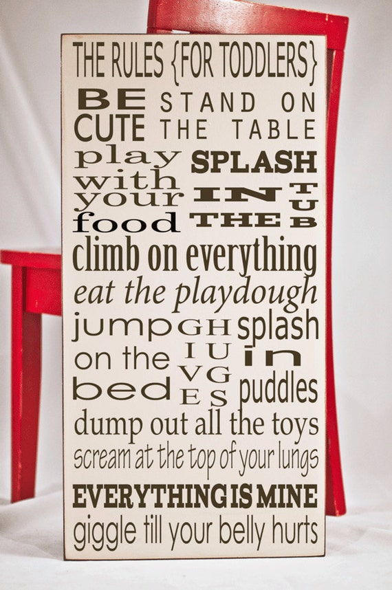 Toddler Rules Wooden Subway Art Board Nursery By Vinylcrafts