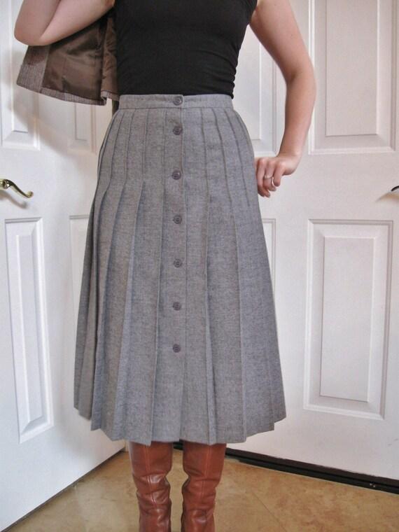 vintage designer button front pleated skirt by valeriecade