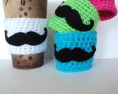 Crochet Mustache Cup Cozy, Mug Cozy, Tea Cozy, Coffee Cozy, Mustache Party