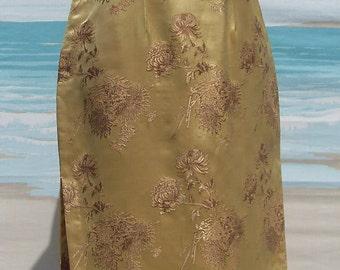 1950's Gold Silk Cheongsam Asian Dress