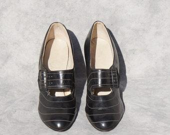 1920's Black Leather Flapper Prohibition  Shoes Women's 6