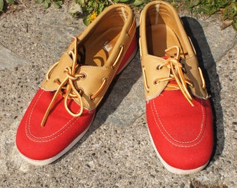 50's Red Canvas and Leather Boat Shoes Loafers