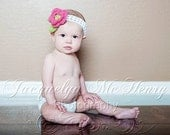 The Ava Flower Headband in Coral, White and Green 0-3 Month Free Shipping in the U.S.- READY TO SHIP