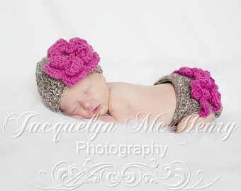 The Emma Beanie in Taupe Mist and Raspberry with Matching Diaper Cover Available in Newborn to 12 Months- MADE TO ORDER