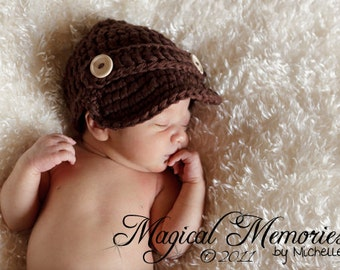 The Oliver Newsboy Cap/Visor Beanie/Baby Newsboy Hat in Chocolate Brown Available in Newborn to 24 Months Size- MADE TO ORDER