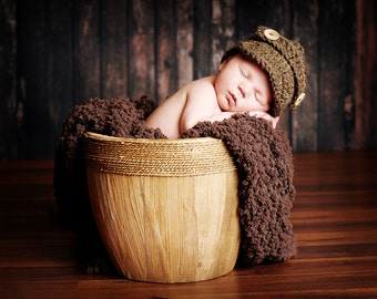 The Oliver Newsboy Cap/Visor Beanie/Baby Newsboy Hat in Barley Available in Newborn to 4 Years Size- MADE TO ORDER