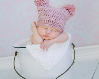 Double Pom Pom Beanie Available in Newborn to Child Size Choose Your Color- MADE TO ORDER