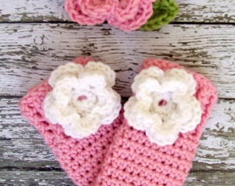 The Ava Flower Headband in Baby Pink, White and Celery Green Available in Newborn to 24 Months With Matching Leg Warmers- MADE TO ORDER