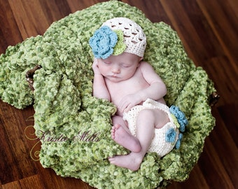 The Sofia Flower Beanie in Ecru, Teal, and Celery Green Available in Newborn to Tween Size- MADE TO ORDER