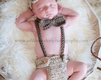 Little Man Suit in Oatmeal and Taupe with Matching Diaper Cover, Suspenders and Bow Tie Available in 3 Sizes- MADE TO ORDER