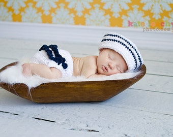 Little Miss Sailor Hat in White and Navy Blue with Matching Diaper Cover Available in Newborn to 24 Months Size- MADE TO ORDER