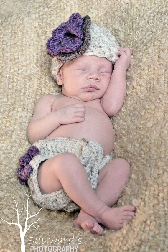 The Emma Beanie in Wheat, Dusty Purple and Taupe with Matching Diaper Cover Available in Newborn to 12 Months- MADE TO ORDER