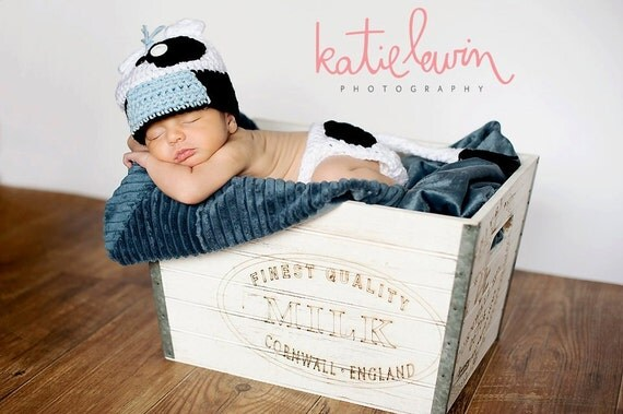 Little Mr. Baby Cow Beanie in White, Baby Blue and Black Available in Newborn to 5 Years Size- MADE TO ORDER