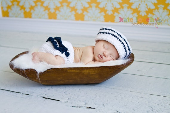 Little Miss Sailor Hat in White and Navy Blue with Matching Ruffle Diaper Cover Available in Newborn to 24 Months Size- MADE TO ORDER