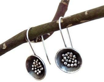 Sterling silver drop earrings. Silver earrings. Granulated earrings. Silver jewellery. Handmade. MADE TO ORDER.