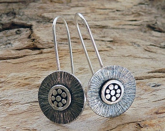Sterling silver earrings. Silver drop earrings. Disc earrings. Silver jewellery. Handmade. MADE TO ORDER.