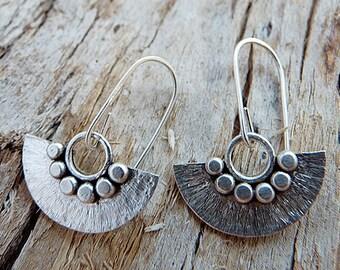 Sterling silver earrings. Silver dangle earrings. Fan earrings.  Handmade.