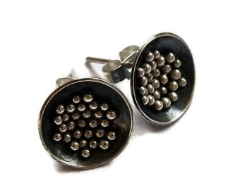 Sterling silver domed post earrings. Sterling silver domed studs. Oxidized earrings. Granulated earrings. Silver jewellery. Handcrafted.