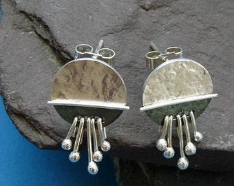 Sterling silver post earrings - silver studs - handcrafted - oxidized earrings - silver jewelry