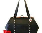 Black Faux Leather Vinyl Handbag, Retro Purse, Rockabilly, Psychobilly, Goth, Punk - MADE TO ORDER