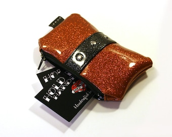 Orange Glitter Coin Pouch - Sparkle Coin Purse - Vinyl Pouch - Halloween - MADE TO ORDER