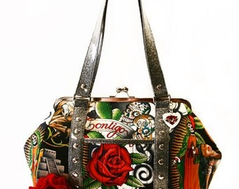 Black Day of the Dead Purse with Your Choice of Vinyl Trim - MADE TO ORDER